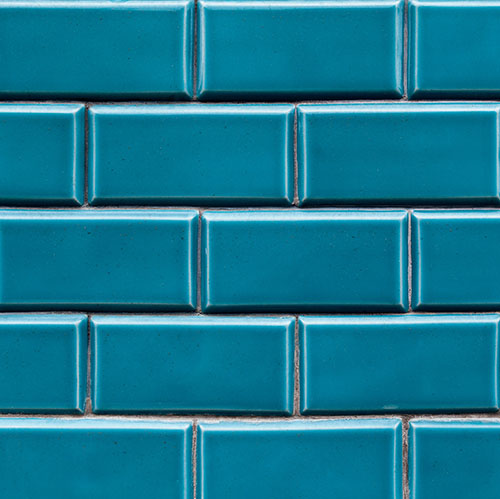 Blue ceramic brick tile